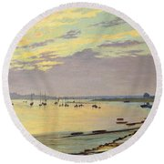 Low Tide Round Beach Towel by W Savage Cooper