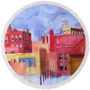 Lowell Sun Watercolor Round Beach Towel