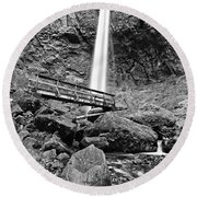 Lower Angle Of Elowah Falls In The Columbia River Gorge Round Beach Towel