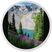 Lower Blue Lake Summer Portrait Round Beach Towel by Cascade Colors
