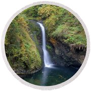 Lower Butte Creek Falls Plunging Into A Pool Round Beach Towel