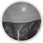 Lower Falls At Artist Point Bw  Round Beach Towel