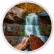 Lower Falls At Kaaterskill Round Beach Towel