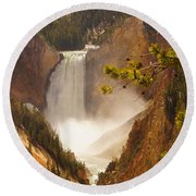 Lower Falls From Artists Viewpoint Round Beach Towel
