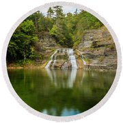 Lower Falls Of Enfield Glen Early Autumn Round Beach Towel