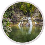 Lower Falls Of Enfield Glen Robert H. Treman State Park Round Beach Towel