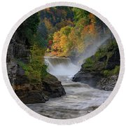 Lower Falls Of The Genesee River Round Beach Towel