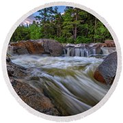 Lower Falls Of The Swift River Round Beach Towel
