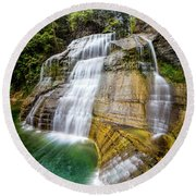 Lower Falls Profile At Enfield Glen Round Beach Towel