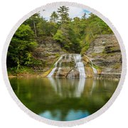 Lower Falls Reflection Of Enfield Glen Round Beach Towel