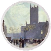 Lower Fifth Avenue Round Beach Towel by Childe Hassam