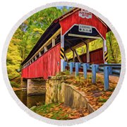 Lower Humbert Covered Bridge 2 - Paint Round Beach Towel