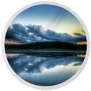 Lower Lake Sunset Round Beach Towel