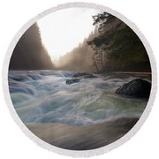 Lower Lewis River Falls During Sunset Round Beach Towel