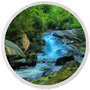 Lower Lynn Camp Falls Smoky Mountains Round Beach Towel