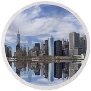 Lower Manhattan Nyc Round Beach Towel