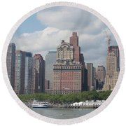 Lower Manhattan Panorama Round Beach Towel
