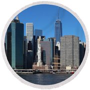 Lower Manhattan Round Beach Towel
