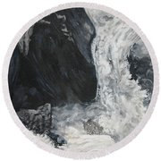 Lower Vernal Black And White  Round Beach Towel