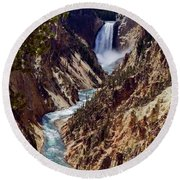 Lower Yellowstone Falls And River Round Beach Towel