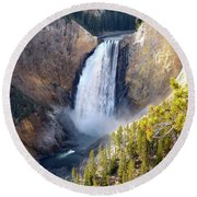 Lower Yellowstone Falls From Inspiration Point Round Beach Towel