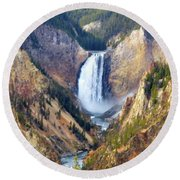 Lower Yellowstone Falls Round Beach Towel