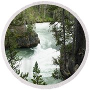 Lower Yellowstone Falls Round Beach Towel