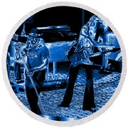 Ls #40 Enhanced In Blue Round Beach Towel