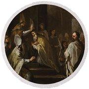 Luca Giordano Naples 1634 - 1705 The Consecration Of Saint Gregorio Armeno Round Beach Towel