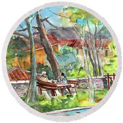 Lucca In Italy 04 Round Beach Towel by Miki De Goodaboom