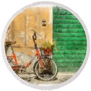 Lucca Italy Bike Watercolor Round Beach Towel