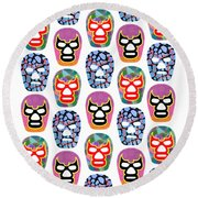 Lucha Libre Masks Round Beach Towel