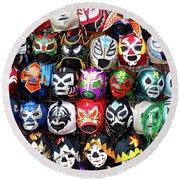 Lucha Libre Wrestling Masks Round Beach Towel