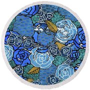 Lucia's Flowers Round Beach Towel