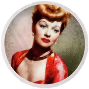 Lucille Ball, Vintage Actress Round Beach Towel