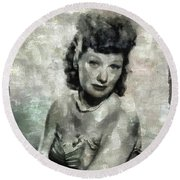 Lucille Ball Vintage Hollywood Actress Round Beach Towel