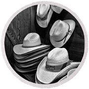 Luckenbach Hats Black And White Round Beach Towel