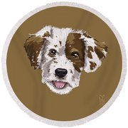Lucky Brown Mixed Breed Round Beach Towel