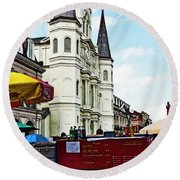 Lucky Dogs And St. Louis Cathedral Round Beach Towel