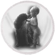 Lucy Kisses In Black And White Round Beach Towel