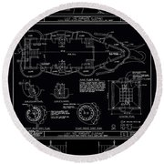 Lucy The Elephant Building Patent Blueprint 3 Round Beach Towel