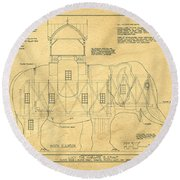 Lucy The Elephant Building Patent Blueprint  Round Beach Towel