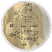 Lucy The Elephant Building Patent Round Beach Towel