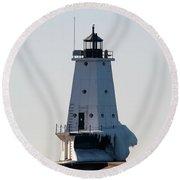 Ludington Lighthouse With Ice Round Beach Towel