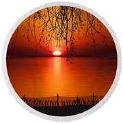 Ludington Sunset April 2016 Round Beach Towel