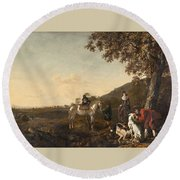 Ludolph De Jongh And Joris Van Der Hagen 1616 Rotterdam - Hillegersberg 1679 Or 1615 Hunting Party A Round Beach Towel