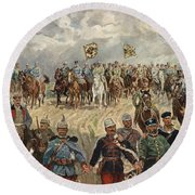Ludwig Koch, Franz Josef I And Wilhelm II With Military Commanders During Wwi Round Beach Towel