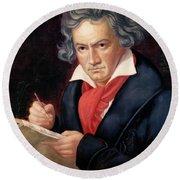 Ludwig Van Beethoven Composing His Missa Solemnis Round Beach Towel
