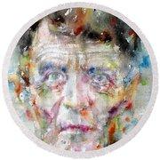 Ludwig Wittgenstein - Watercolor Portrait.2 Round Beach Towel