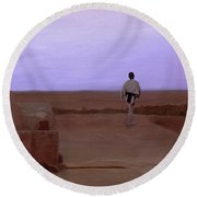 Luke Skywalker Tatooine Sunset Round Beach Towel